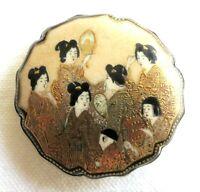 1800's Antique Meiji Japanese Satsuma Belt Buckle End Gold Frame Signed