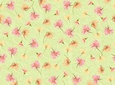 V.I.P EXCLUSIVE PAISLEY DAISLEY DAISY FLOWERS ON GREEN COTTON FABRIC BTY