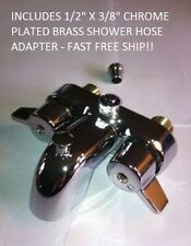 HEAVY DUTY DIVERTER FAUCET WITH SHOWER ADAPTER FOR CLAWFOOT TUB ON LEGS NICE!
