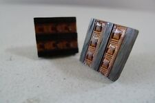 Vintage retro 70s Cufflinks carved wooden cufflinks excellent geometric light
