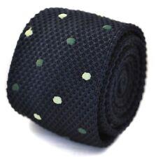Frederick Thomas Tricoté Bleu Marine et vert pointillé cravate