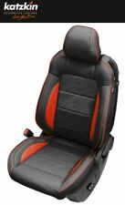 2015-20 Ford Mustang Coupe Custom Katzkin Black and Salsa Leather Seat Covers