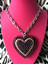 Tarina Tarantino HUGE Big Love Purple Yellow Heart Black Swarovski Necklace RARE