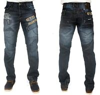 MENS JEANS LATEST ETO EM526 DARK WASH STRAIGHT FITTED DESIGNER PANTS 28 TO 42