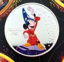 Fantasia 1940 Colorized 1 oz .999 Silver Coin Mickey Mouse Disney Coin