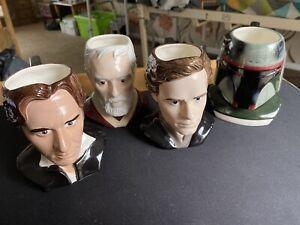 Bundle 4 x Star Wars Applause Character Mugs Boba Fett Mandalorian Obi Han Luke