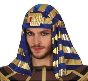Egyptian Pharaoh Blue & Gold King Headdress Fancy Dress Accessory