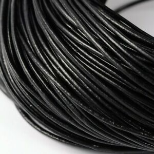 1 Meter x GENUINE Round Cowhide LEATHER String Jewelry CORD 2MM Black Natural