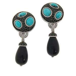 HSN Judith Ripka Turquoise, Onyx, Black Spinel & Diamonique Drop Earrings $499