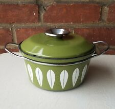 "Cathrineholm Casserole/pot w/lid Lotus Enamelware Avocado-White 7 3/4""  1.5 qt"