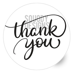 Thank You Printed Round Stickers - Custom Craft Labels - Personalised Customised