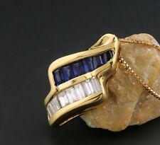 Diamante Zafiro COLLAR DE CADENA ORO AMARILLO 750 Valor NUEVO (39718)