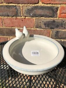 CERAMIC BIRD BATH VERY DECORATIVE AND PRACTICAL IN AGED WHITE