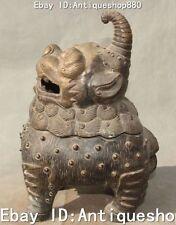 """11""""China Old Silver Foo Fu Dog Lion Beast Incensory Incense Burner Censer Statue"""