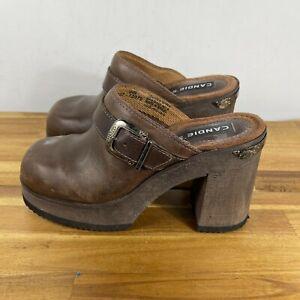Vintage Candies Platform Clogs Mules Heels Slides Shoes Wood Leather 8M