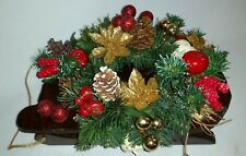 Wooden Sled Wreath Gold Poinsettia Red Apples Christmas Centerpiece Decoration
