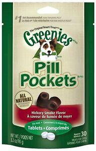 Greenies Pill Pockets Hickory Smoke Tablet Size 30 count   Dog Medicine Treats