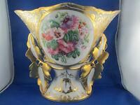 ancien vase d eglise mariée porcelaine paris cornet decor floral peint doré 19e