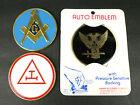 Lot of 3 Freemason Masonic York Scottish Rite Royal Arch Car Auto Emblems UNused