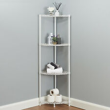 4 Tier Corner Bathroom Storage Shelves Metal White Shelving Unit Display Rack
