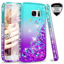Galaxy S7 Glitter Case with Tempered Glass Screen Protector [2 Pack] for Girls W