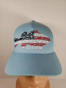RARE Costa Huddle Bass USA American Flag Light Blue/White Mesh Back Hat