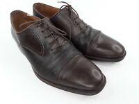 Magnanni Brown Leather Men's 9.5 M Cap Toe Oxfords 9249
