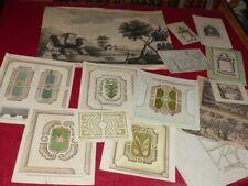 BEL ENSEMBLE OEUVRES de DEGANS Peintre francais XVIIIe Jardins Dessins Originaux