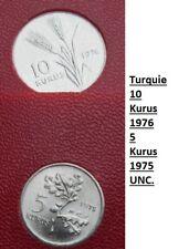 2 Monnaies - Turquie - 5&10 Kurus - rares - unc - neuves - fao