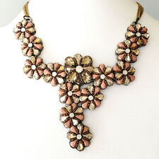 Anthropologie Statement Necklace Glass Beaded Flower Bridal Suzanna Dai Dannijo