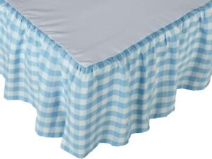 Blue Gingham Bed Skirt Country Farmhouse  Buffalo Check Split Corners Annie