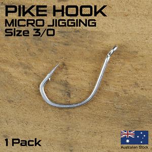 1 Pack - 10pcs Size #3/0 Pike Jig Assist Hook, Micro Jigging, Snapper, Salmon