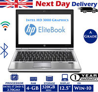 "HP EliteBook 2540p 12.5"" Laptop Intel i7 2.70Ghz 4GB RAM 320GB HDD Windows 10"