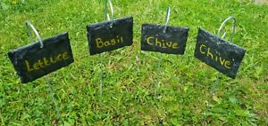 20 Natural Slate Garden Plant Markers Label Tag Stakes Herbs LANDSCAPE 8cm x 6cm