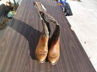 Tony Lama Brown & Tan 2 Tone Western Cowboy Style Women's 8.5D 8 1/2 Wide Boots