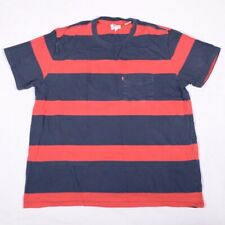 Levi's Striped T Shirt M L Slim Fit Festival Navy Blue Red Pocket Crew Neck