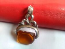Antico Vittoriano/Edwardiano Argento arancio citrino? GIREVOLE CATENA Orologio Fob
