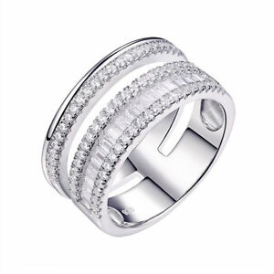 Wide Wedding Band Eternity Ring For Women White Round AAA Cz 925 Sterling Silver