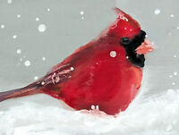 ACEO Cardinal in Snow watercolor painting winter Gift for bird lovers PRINT