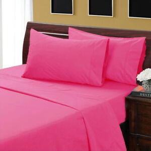 1000 TC Egyptian Cotton UK-King 3 PC Duvet Set Hot Pink Solid Zipper Closure