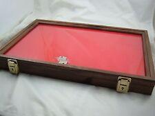 display box walnut wood showcase display case secure foam lining 12 X 18 X 2 in.