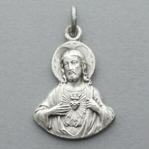 French, Antique Religious Large Pendant. Jesus Christ Sacred Heart. Montmartre.