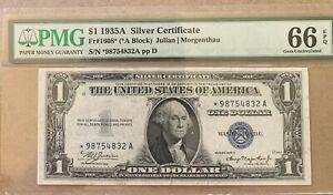 1935A * $1 Silver Certificate PMG 66 EPQ( *-A block)  FR-1608 STAR