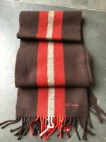 Paul Smith Reversible Brown / Red / Grey Stripe Scarf  100% Wool