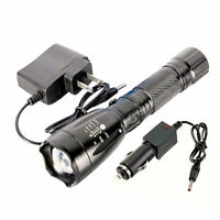 5000LM 5Modes LED Zoom Flashlight Torch Light with Car AC Charger US