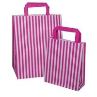 Party Paper Gift Bag PINK Candy Stripe Flat Handle SOS Bags  Birthday Variations