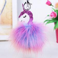 Unicorn Horse Keychain Keyring Handbag Key Ring Fluffy PomPom Bag Charm Pendant