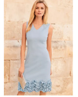 Pale Blue Scuba Fabric Fitted Shift Dress With 3D Cornelli Texture Ruffled Hem