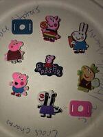 Peppa Pig & Friends Lot Of 7 Croc Shoe,Bracelet Charms,Jibbitz +2 Lace Adapters