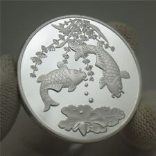 Chinese Koi Fish Geomancy Fortune Love Luck Wish Token Coin Collectible Gift US